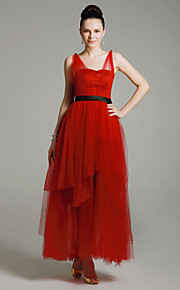 Tulle Satin A-line Straps Tea-length Evening Dress inspired by Mila Kunis at Emmy Award