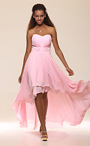 A-line Sweetheart Asymmetrical Chiffon Plus Size Evening Dress