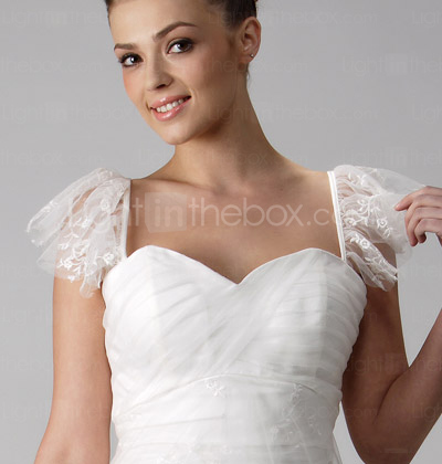 Princess A-line Sweetheart Sweep/Brush Train Tulle Wedding Dress