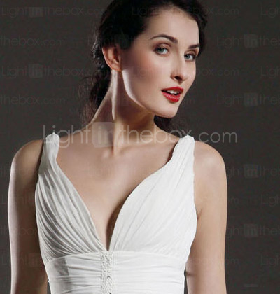 A-line V-neck Asymmetrical Knee-length Chiffon Wedding Dress (HXGD032)