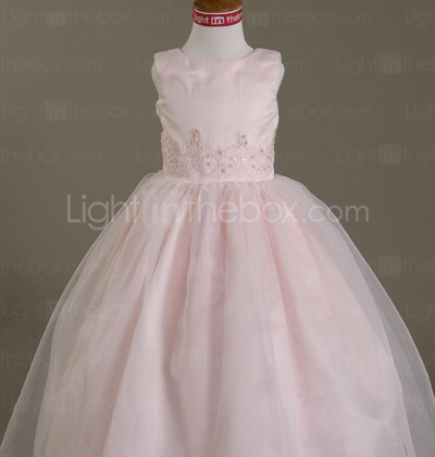 Ball Gown Jewel Floor-length Satin Tulle Flower Girl Dress