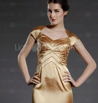 Sheath/Column Knee-length Stretch Satin Mother of the Bride Dress