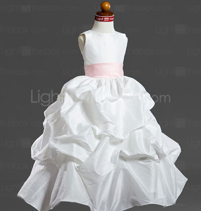 Ball Gown Scoop Tea-length Taffeta Flower Girl Dress