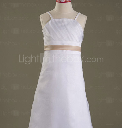 A-line Spaghetti Straps Tea-length Satin Organza Junior Bridesmaid Dress
