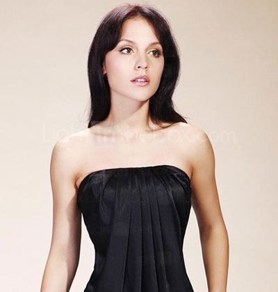 A-line Strapless Short/Mini Charmeuse Cocktail/Little Black/Homecoming Dress