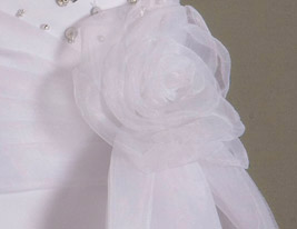 BASIMA - Robe de Communion Organza Satin - Châle Inclus