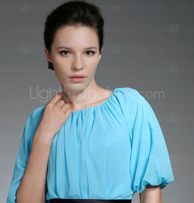 Chiffon Sheath/Column Jewel Short/Mini Evening Dress