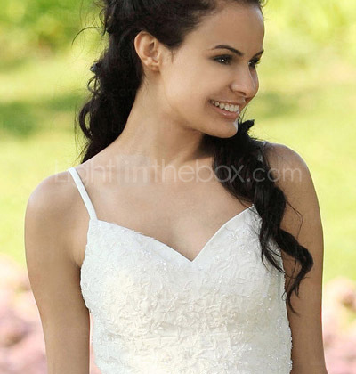 A-line Spaghetti Straps Asymetrical Chiffon Elastic Satin Wedding Dress
