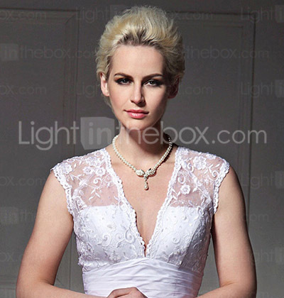 A-line V-neck Taffeta Lace Court Train Wedding Dress
