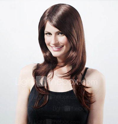 Capless Extra Long Synthetic Chocolate Brown Straight Hair Wig
