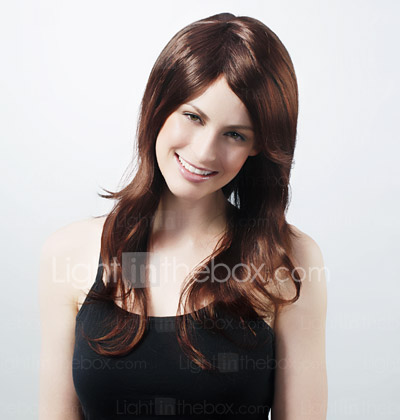 Capless Long Chocolate Brown Body Wave 100% Human Hair Wig with Side Bang