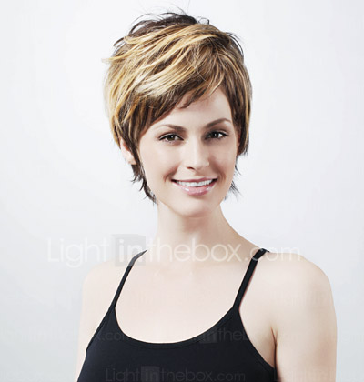 Capless Short High Quality Synthetic Natural Look Dark Coffee With Blonde Bob Hair Wig FD010C-0479-1112-3