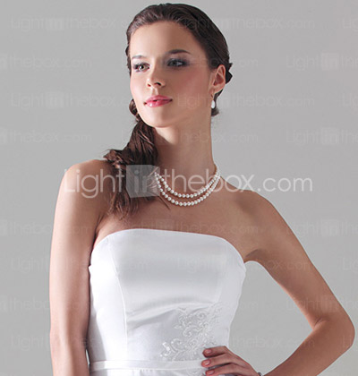Sheath/Column Strapless Floor-length Satin Bridesmaid/Wedding Party Dress