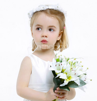 A-line Jewel Floor-length Taffeta Flower Girl Dress