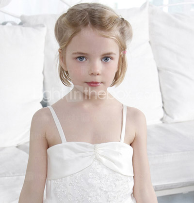 Ball Gown Spaghetti Straps Floor-length Organza Over Satin Flower Girl Dress With A Wrap