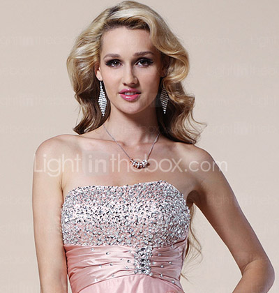 A-line Strapless Floor-length Stretch Satin And Tulle Evening Dress