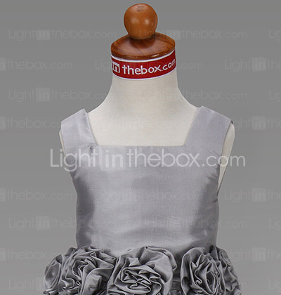 Ball Gown Square Floor-length Taffeta Flower Girl Dress