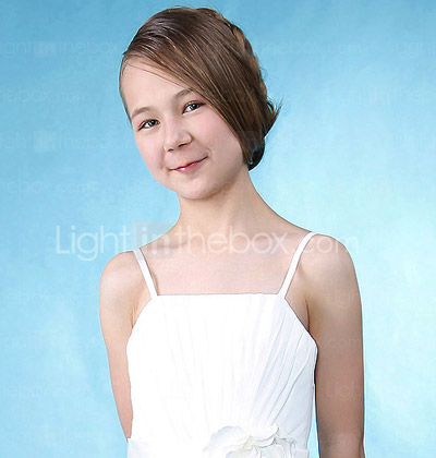 A-line Princess Spaghetti Straps Floor-length Chiffon Junior Bridesmaid Dress
