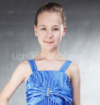 Sheath/ Column Straps Floor-length Elastic Silk-like Satin Junior Bridesmaid Dress