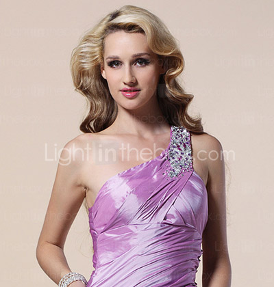 Trumpet/ Mermaid One Shoulder Floor-length Beaded Taffeta Evening Dress