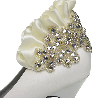 Elegant Leatherette Upper Stiletto Heel Closed Toe With Rhinestone/ Ruffles Wedding/ Party Shoes