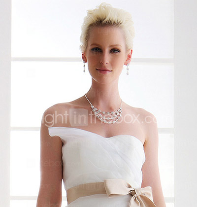 Attractive A-line Sweetheart Court Train Satin Wedding Dress