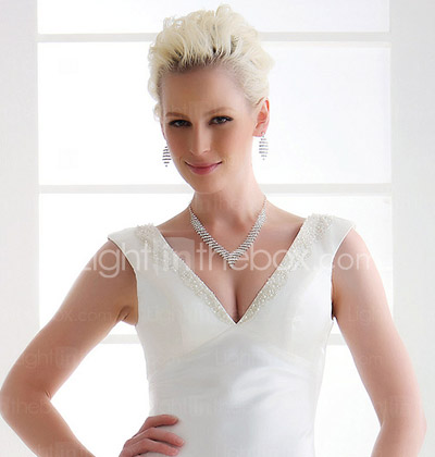 Sheath/Column Deep V-neck Floor-length Elastic Woven Satin Wedding Dress