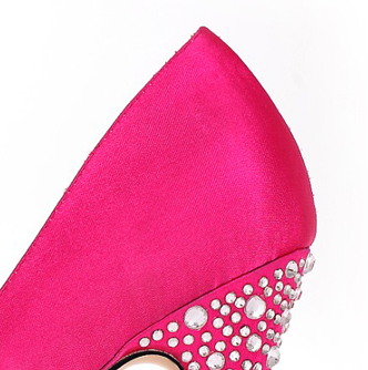 Satin Upper Stiletto Heel Pumps With Rhinestone
