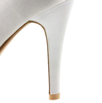 Satin Upper Stiletto Heel Peep Toe/ Pumps With Rhinestone/ Imitation Pearl Wedding Bridal Shoes