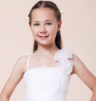 A-line Spaghetti Straps Knee-length Elastic Woven Satin Junior Bridesmaid Dress