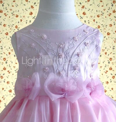 A-line Jewel Knee-length Satin Cotton With Appliques Flower Girl Dress