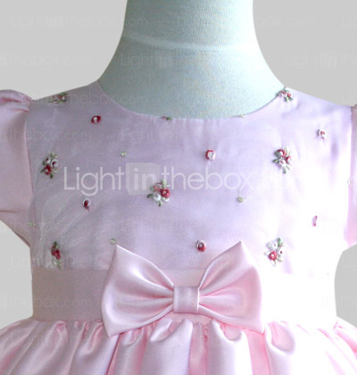 A-line Jewel Knee-length Satin Cotton With Bow Flower Girl Dress