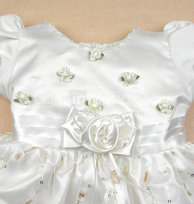 A-line Jewel Knee-length Satin Yarn With Flower/ Beading Flower Girl Dress