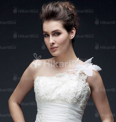A-line One Shoulder Court Train Organza Wedding Dress
