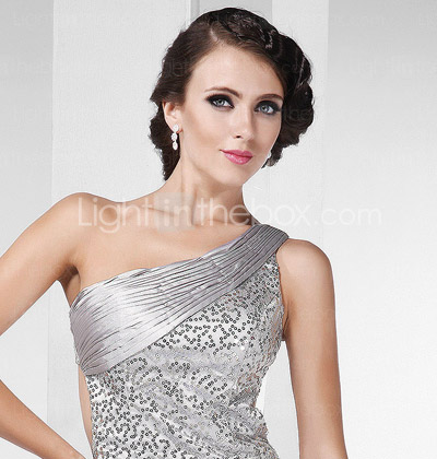 Sheath/ Column One Shoulder Floor-length Sequined Evening Dress