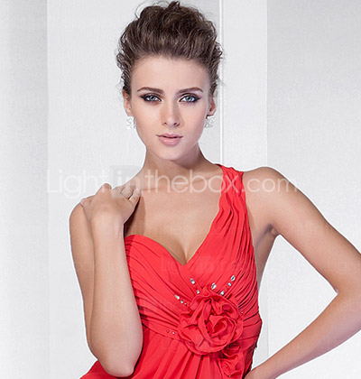 A-line One Shoulder Court Train Chiffon Evening Dress With Split Front