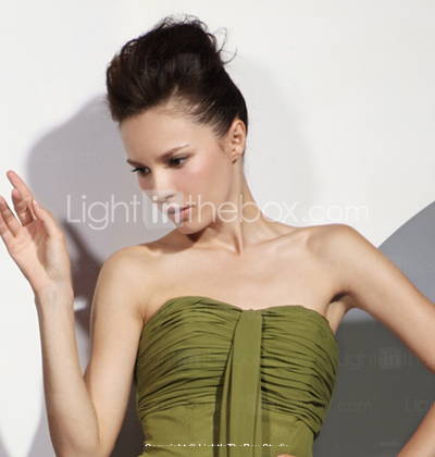 Sheath/ Column Strapless Asymmetrical Chiffon Bridesmaid/ Wedding Party Dress