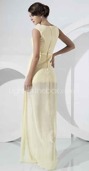 Chiffon Sheath/Column V-neck Asymmetrical Evening Dress inspired by Rosario Dawson