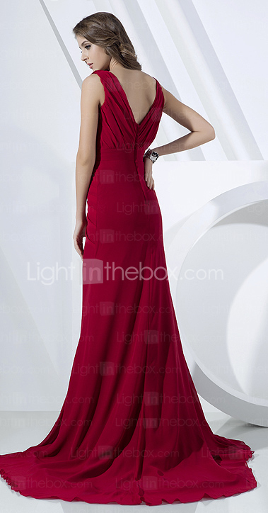 Sheath/Column Cowl Sweep/Brush Train Chiffon Evening Dress