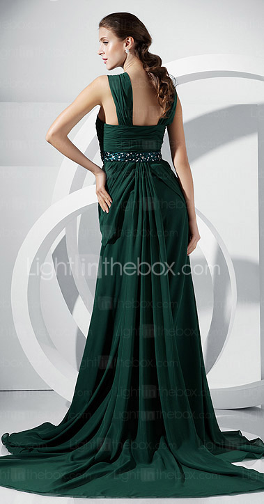 A-line Straps Court Train Chiffon Evening Dress