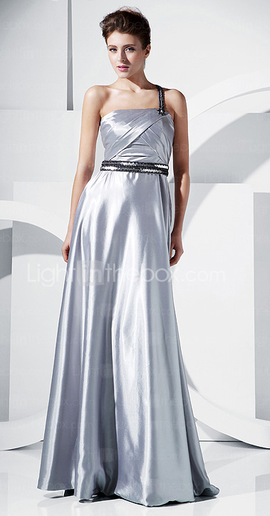 A-line One Shoulder Floor-length Stretch Satin Evening Dress