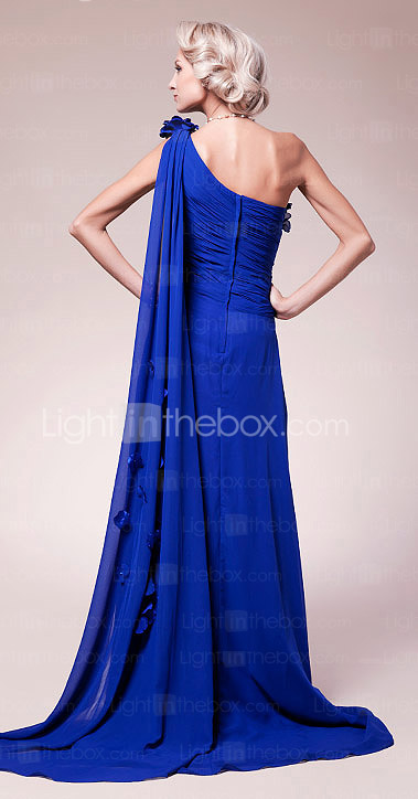 A-line One Shoulder Sweep/Brush Train Chiffon Mother of the Bride Dress