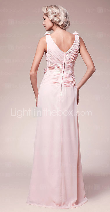 A-line V-neck Floor-length Chiffon Mother of the Bride Dress
