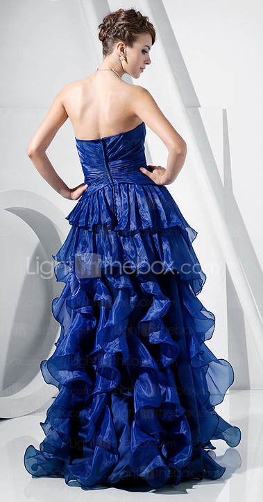 A-line Strapless Floor-length Organza Evening Dress