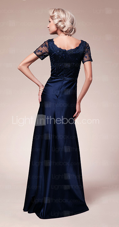 Sheath/Column Scoop Floor-length Satin Mother of the Bride Dress