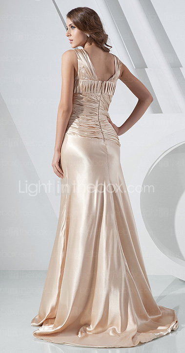 Trumpet/Mermaid V-neck Sweep/Brush Train Charmeuse Evening Dress