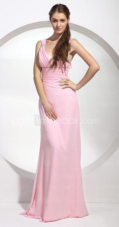 Sheath/Column V-neck Floor-length Chiffon Bridesmaid/Wedding Party Dress