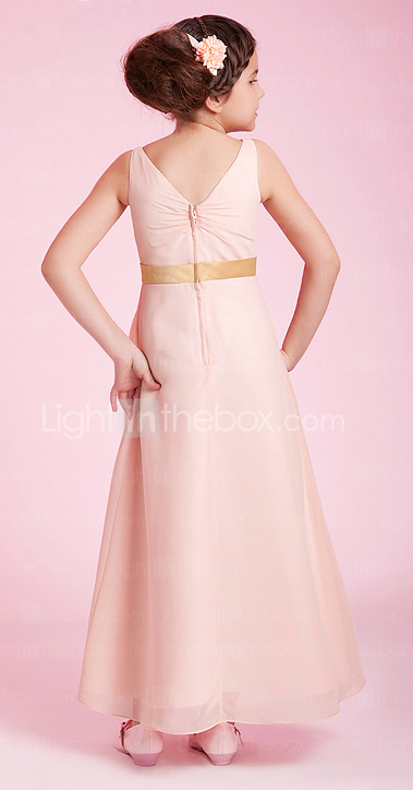 A-line V-neck Ankle-length Chiffon Junior Bridesmaid Dress