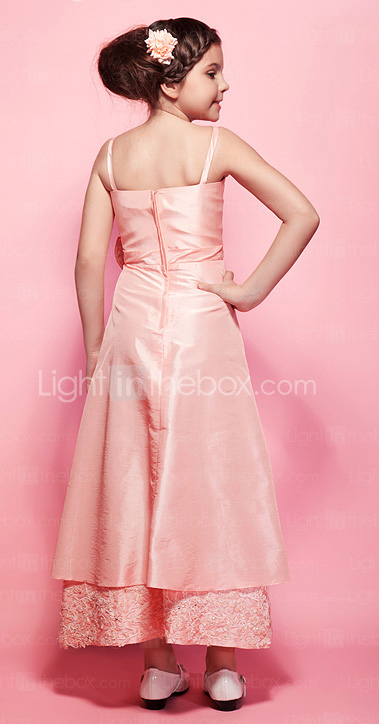 A-line Spaghetti Straps Ankle-length Taffeta Junior Bridesmaid Dress