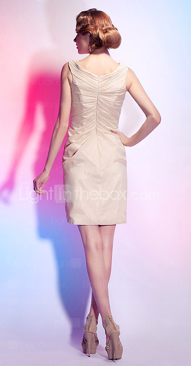Sheath/ Column V-neck Chiffon Cocktail Dress With Side-Draping